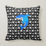 Blue shark with black and white skulls pattern pillow