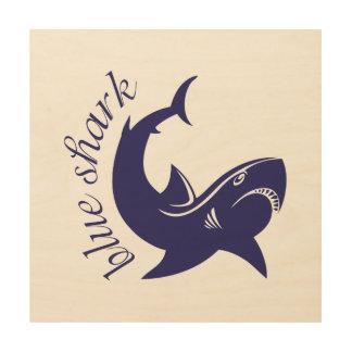 Blue shark wood wall art
