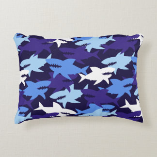 Blue Sharks Camouflage Pattern Accent Pillow