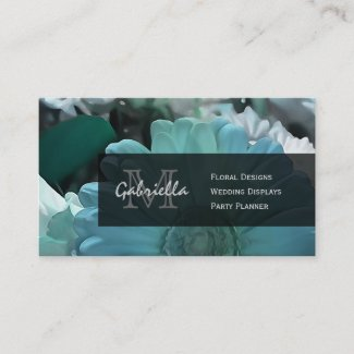 Blue Shasta Daisy Print : Monogram Business Cards
