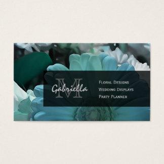 Blue Shasta Daisy Print : Monogram Business Cards