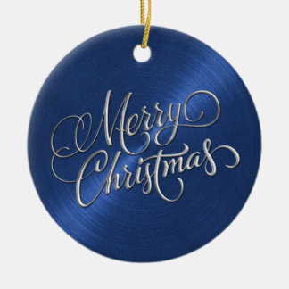Blue Sheen and Silver Merry Christmas Ceramic Ornament
