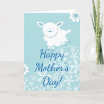 blue sheep baby boy shower mother's day card