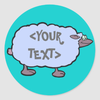 Blue Sheep, <YOUR TEXT> Classic Round Sticker