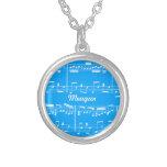 Blue Sheet Music Necklace