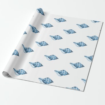 Beach Themed Blue shell nautical coastal beach sea gifts wrapping paper