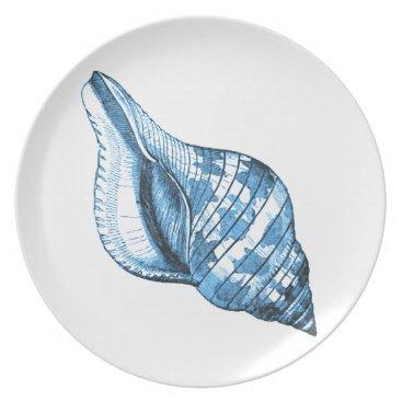 Beach Themed Blue shell nautical coastal ocean gifts plate
