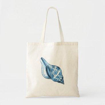 Beach Themed Blue shell nautical coastal ocean gifts tote bag