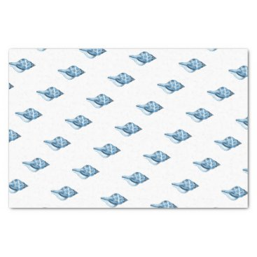 Beach Themed Blue shell ocean nautical coastal gift wrapping tissue paper