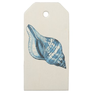 Beach Themed Blue shell ocean nautical coastal gift wrapping wooden gift tags