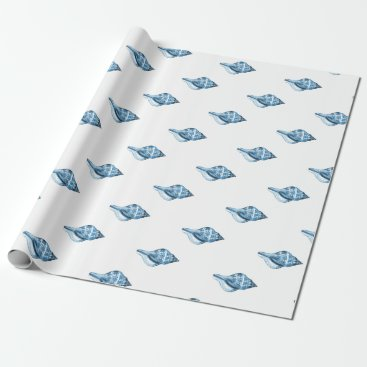 Beach Themed Blue shell ocean nautical coastal gift wrapping wrapping paper