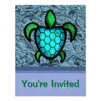 Blue Shell Turtle Invitations