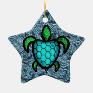 Blue Shell Turtle Star Ornament