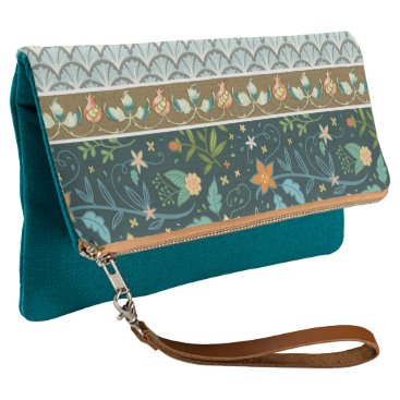 Bride Themed Blue Shells and Flowers Design Clutch