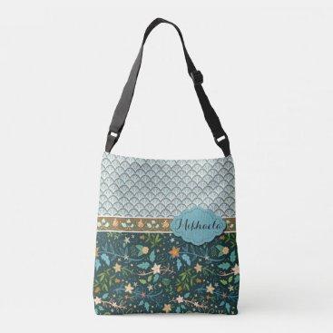 Bride Themed Blue Shells and Flowers Design Crossbody Bag