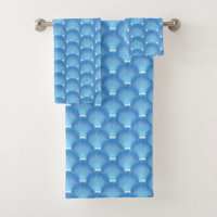 Blue Shells Bath Towel Set