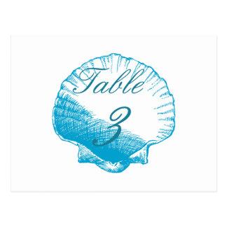 Blue Shells Beach Wedding Table Number Cards Postcard
