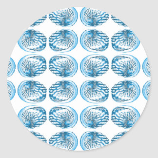 Blue Shells Pattern. Classic Round Sticker