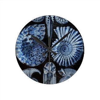 Blue Shells Round Clock