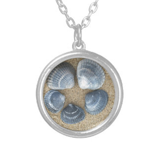 Blue shells silver plated necklace
