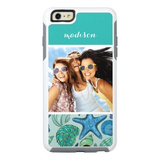 Blue Shells & Starfish Pattern | Your Photo & Name OtterBox iPhone 6/6s Plus Case