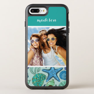 Blue Shells & Starfish Pattern | Your Photo & Name OtterBox Symmetry iPhone 7 Plus Case