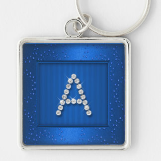 Blue Shimmer and Sparkle with Monogram Keychain