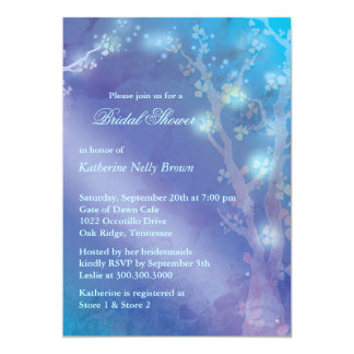 Blue Shimmer Cute Winter Bridal Shower Card