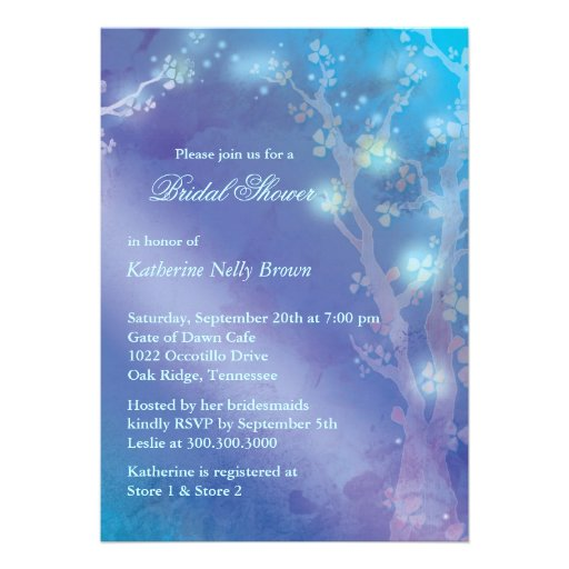 Blue Shimmer Cute Winter Bridal Shower Invitations from Zazzle.com