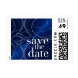 Blue Shimmer Save the Date Swirls Postage Stamps