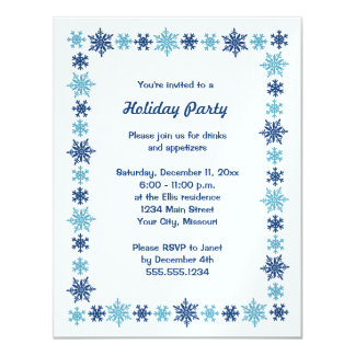 Blue Shimmer Snowflake Holiday Party Invitations