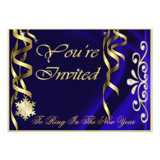 Blue Shimmering Soiree New Years Eve Invitation