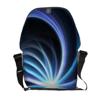 Blue Shining Solar Fractal Starburst Messenger Bag