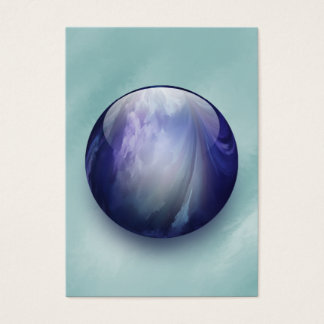 Blue Shiny Glass Marble Business Card