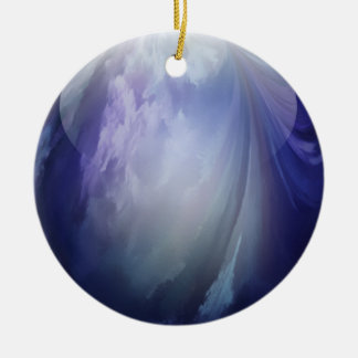 Blue Shiny Glass Marble Ceramic Ornament