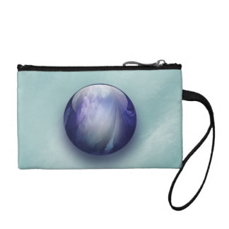 Blue Shiny Glass Marble Change Purse