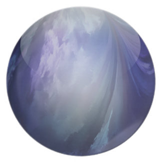 Blue Shiny Glass Marble Dinner Plate