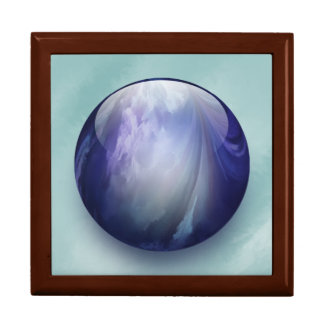 Blue Shiny Glass Marble Jewelry Box