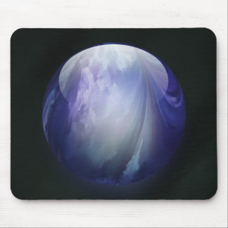 Blue Shiny Glass Marble Mouse Pad
