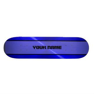 Blue Shiny Stainless Steel Metal 2 Custom Skateboard