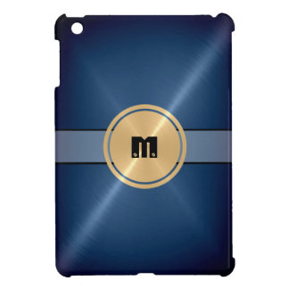 Blue Shiny Stainless Steel Metal and Gold Button iPad Mini Case