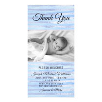 Blue Shiny Stripes Photo Baby Shower Thank You Card