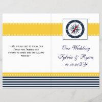 blue ship compass nautical  folded Wedding program