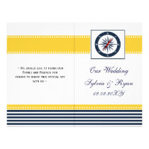 blue ship compass nautical  folded Wedding program