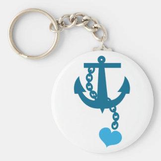 Blue ship ocean anchor keychain