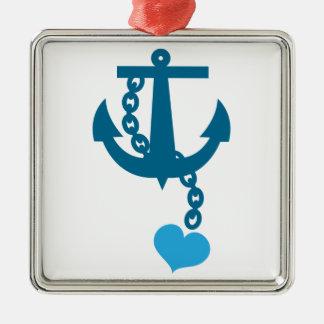 Blue ship ocean anchor square metal christmas ornament