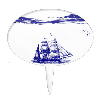 Blue Ship Sailing at Sea Cake Topper