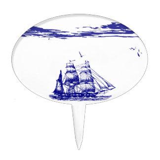 Blue Ship Sailing at Sea Cake Topper