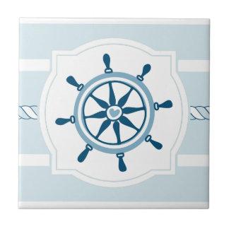 Blue ship wheel nautical stripes ceramic tile
