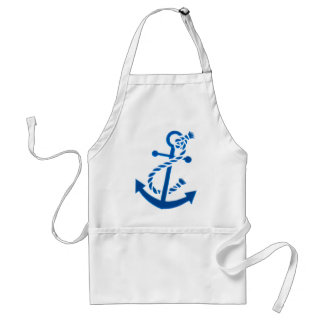Blue Ship's Anchor Nautical Marine Themed Adult Apron